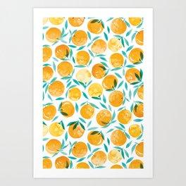 Winter Oranges | White Background Art Print