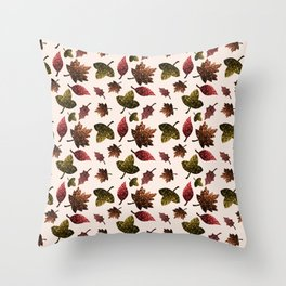 Sparkly leaves fall autumn sparkles pattern Throw Pillow