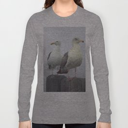 Two Sea Gulls in a Misty Harbor with Sailboats and Fishing Boats on Vancouver Island Long Sleeve T-shirt