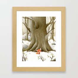 The little fox and the tree Framed Art Print