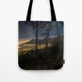 Cape Town city and Table Mountain at night Tote Bag