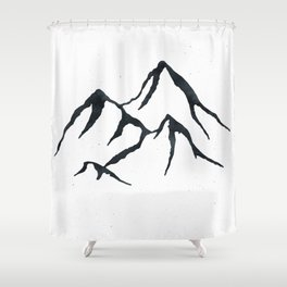 MOUNTAINS Black And White Shower Curtain