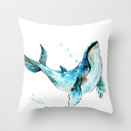 Humpback Whale Artwork Children Illustration Cute little Whale, whale design Throw Pillow