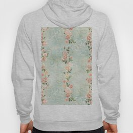 seamless, pattern, with delicate roses and monograms, shabby chic, retro. Hoody