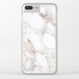 Rose Gold Marble Blush Pink Metallic Foil Clear iPhone Case