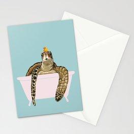 Sea Turtle in Bathtub Stationery Cards