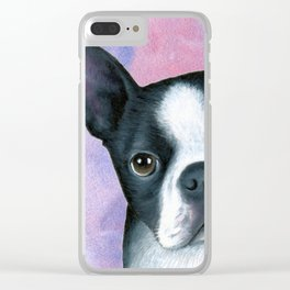 Dog 128 Boston Terrier Clear iPhone Case