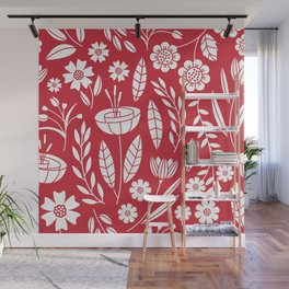 Blooming field - red Wall Mural