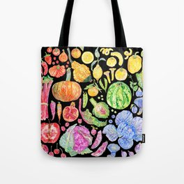 Rainbow of Fruits and Vegetables Dark Tote Bag