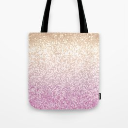 Champagne Gold and Pink Glitter Ombre Tote Bag