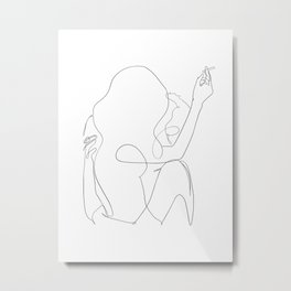 minimal line art - kiss Metal Print