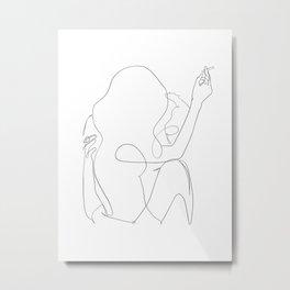 minimal line art - kiss Metal Print