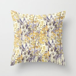 New England Wildflowers Throw Pillow