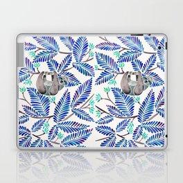 Happy Sloth – Tropical Blue Leaves Laptop & iPad Skin