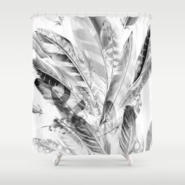 Cosmic Feathers Black and White Shower Curtain