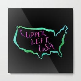 Upper Left, USA - Neon Metal Print