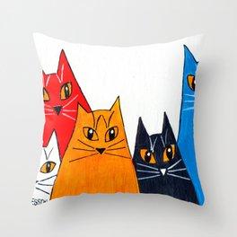 Five Cats Throw Pillow