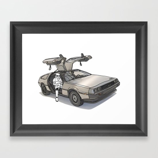 Stormtroooper in a DeLorean - star wars Framed Art Print