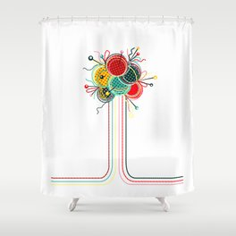 Knitting Yarn Balls and Needles Shower Curtain