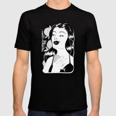 Girl with flower MEDIUM Mens Fitted Tee Black