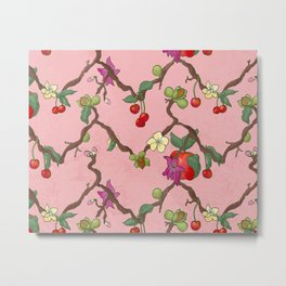 Cherries and Vine Metal Print