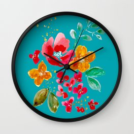 Red Poppy and Wildflowers Wall Clock