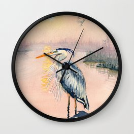 Great Blue Heron at Sunset Wall Clock