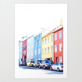 Colorful Reykjavik Homes Art Print