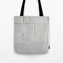 Background of white brick wall pattern texture. Great for graffiti inscriptions. Tote Bag