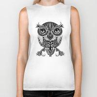 egyptian Biker Tanks featuring Baby Egyptian Owl by Rachel Caldwell