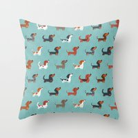 dachshund Throw Pillows featuring DACHSHUND by Doggie Drawings