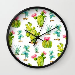 Green Cactus Watercolor Wall Clock