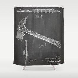 Firemans Axe Patent - Fire Fighter Art - Black Chalkboard Shower Curtain