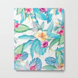 Blue tropical flowers Metal Print