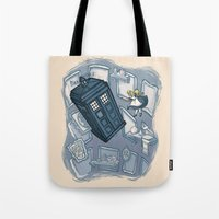 hallion Tote Bags featuring Falling by Karen Hallion Illustrations
