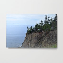 Ocean Cliff with Evergreen Pine Trees Metal Print