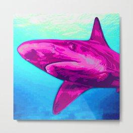 Painted Pink Shark Metal Print