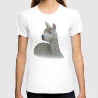 alpaca T-shirts featuring White Alpaca by Deborah Janke