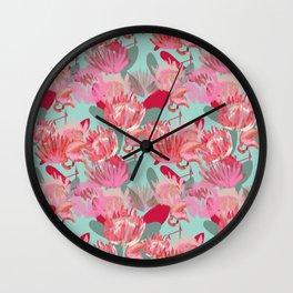 Flamingos and Proteas Wall Clock