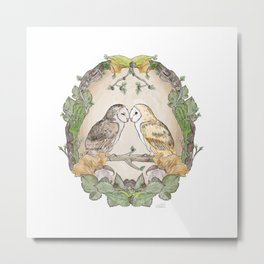 Watercolor Barn Owls in a Forest Plants and Fungi Mushroom Frame Metal Print