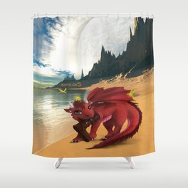 Dragonlings of Valdier: Amber Shower Curtain
