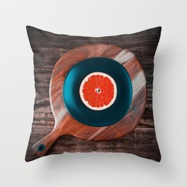 Music and Food - vinyl record concept Throw Pillow