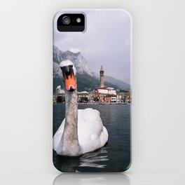 Swan on Lago di Como - Landscape and Nature Photography Art Print Art Print iPhone Case