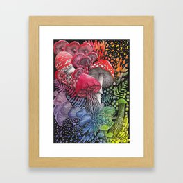 Rainbow Mushroom Composition   Watercolor Illustration Framed Art Print