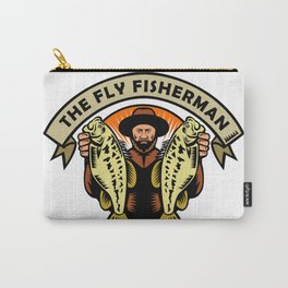 Fly Fisherman Holding Largemouth Bass Woodcut Carry-All Pouch