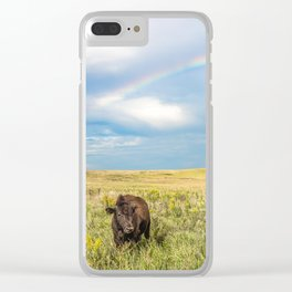 Rainbows and Bison - Buffalo on the Tallgrass Prairies of Oklahoma Clear iPhone Case