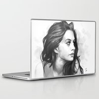 minimalist Laptop & iPad Skins featuring Anne Hathaway minimalist illustration by Thubakabra