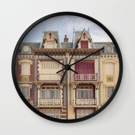 Colourful houses I Le Tréport, Picardy, France I Vintage pastel tones I Photography Wall Clock