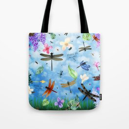 There Be Dragons Whimsical Dragonfly Art Tote Bag
