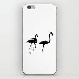 Three Flamingos Black Silhouette Isolated iPhone Skin